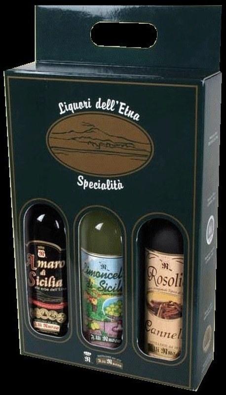 Coffret 3 bouteilles Amaro - Limoncello - Cannella